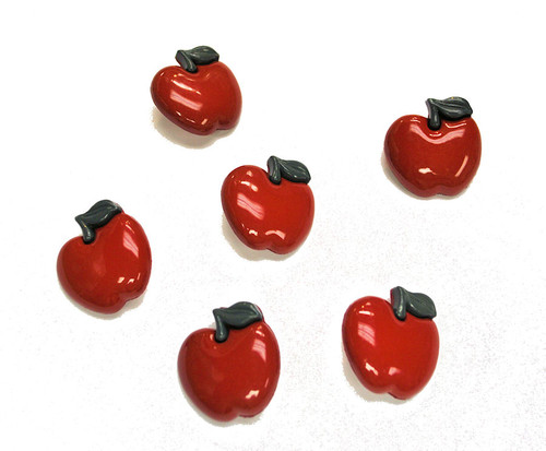 Big Red Apple Buttons by Jesse James Buttons - Pkg. of 6