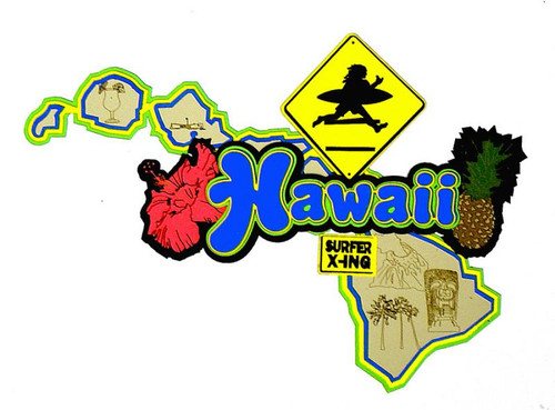 Hawaii State Detailed Laser Cut Embellishment by Paper Wizard
