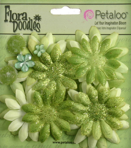 Flora Doodles Collection Green Fabric & Glitter Daisies by Petaloo - Pkg. of 25