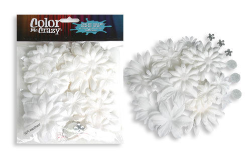 Color Me Crazy Fabric & Glitter Flowers by Petaloo - Pkg. of 50