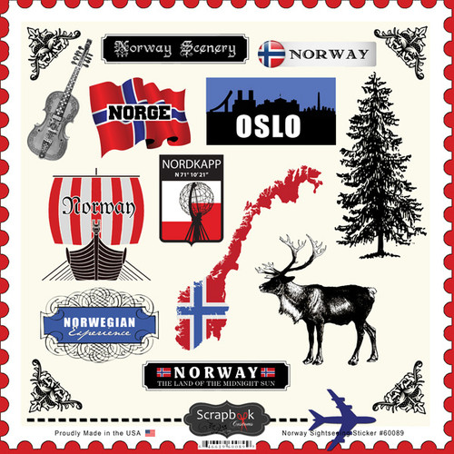 Sightseeing Collection Norway 12 x12 Cardstock Sticker Sheet by Scrapbook Customs