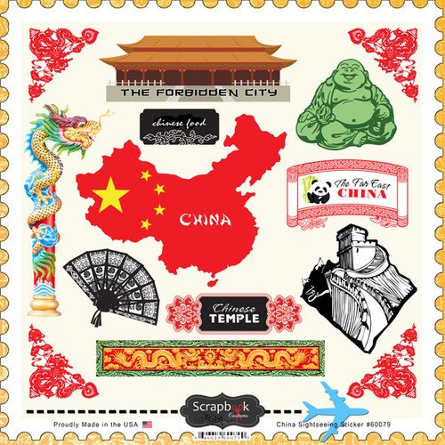 Sightseeing Collection China 12 x 12 Sticker Sheet by Scrapbook Customs