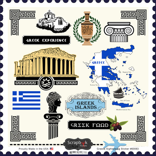 Sightseeing Collection Greece 12 x 12 Sticker Sheet by Scrapbook Customs