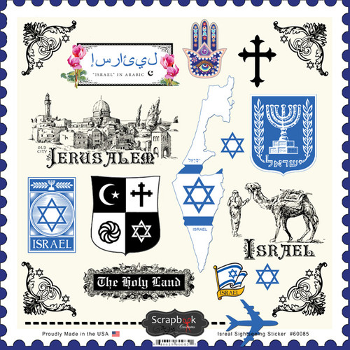 Sightseeing Collection Israel 12 x 12 Sticker Sheet by Scrapbook Customs