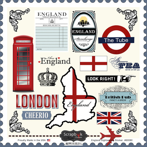 Sightseeing Collection London England 12 x 12 Sticker Sheet by Scrapbook Customs