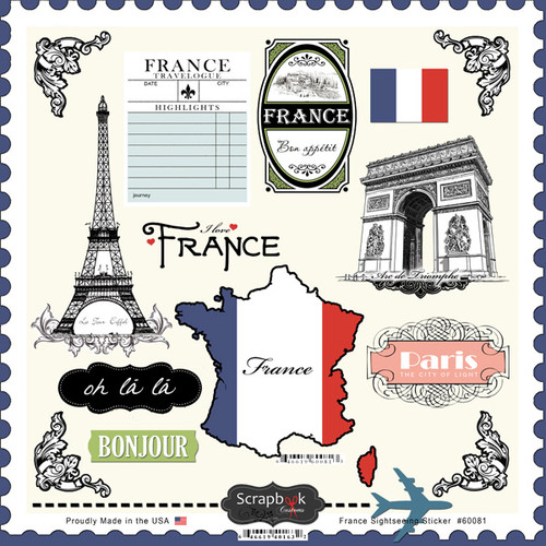 Sightseeing Collection Paris France 12 x 12 Sticker Sheet by Scrapbook Customs