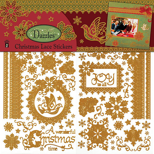Dazzles Collection Christmas Lace 12 x 12 Sticker Sheet by Hot Off The Press