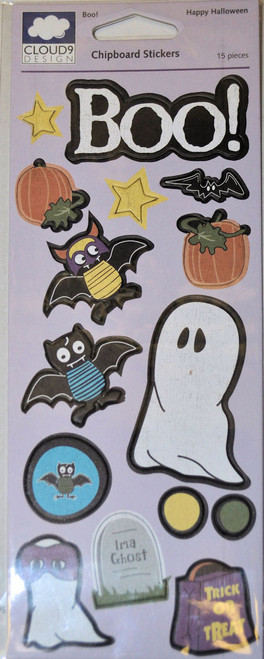 Happy Halloween Collection Boo! Chipboard Stickers - 15 Pieces