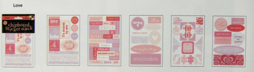 LOVE Chipboard Sticker Stack (5 Sheets of Chipboard Stickers)
