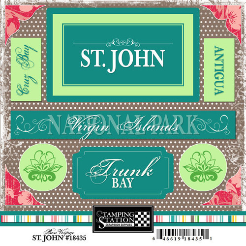 Bon Voyage Collection Saint John 6 x 6 Scrapbook Sticker Sheet by Scrapbook Customs