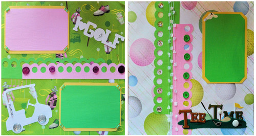 Golf Tee Time Premade Embellished Scrapbook Layouts by SSC Designs