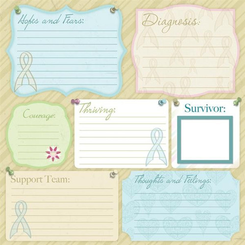 Hope For A Cure Collection Thoughts & Feelings Journaling 12 x 12 Scrapbook Paper by Karen Foster Design