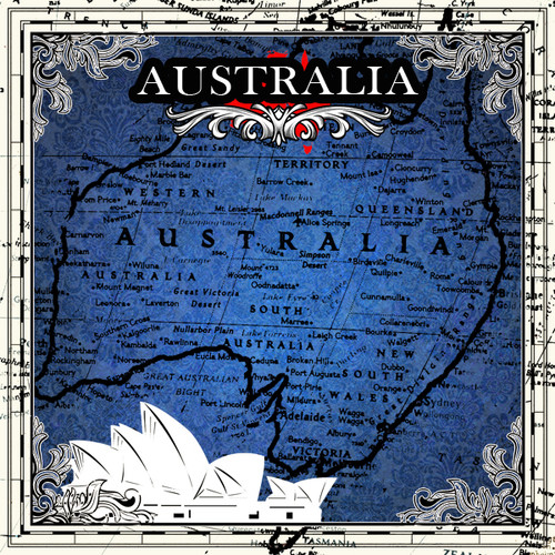 Sightseeing Collection Australia Map 12 x 12 Scrapbook Paper by Scrapbook Customs