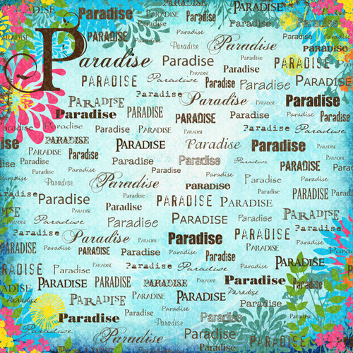 Paradise Collection Blue Paradise Companion 12 x 12 Scrapbook Paper by Scrapbook Customs