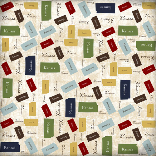 Lovely Travel Collection Kansas State Shape 12 x 12 Scrapbook Paper by Scrapbook Customs