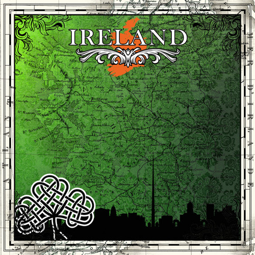 Sightseeing Collection Ireland Map 12 x 12 Scrapbook Paper by Scrapbook Customs