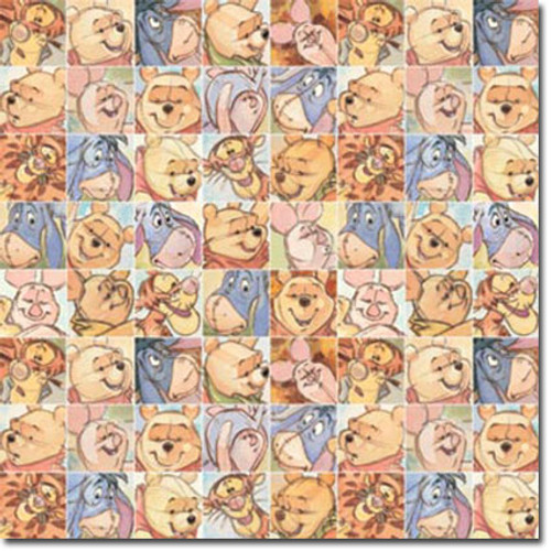 Disney Winnie The Pooh Collection Pooh Colorful Squares 12 x 12 Scrapbook Paper by Sandylion