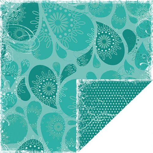 Bon Voyage Collection Blue Water Drops Double-Sided 12 x 12 Scrapbook Paper by Scrapbook Customs