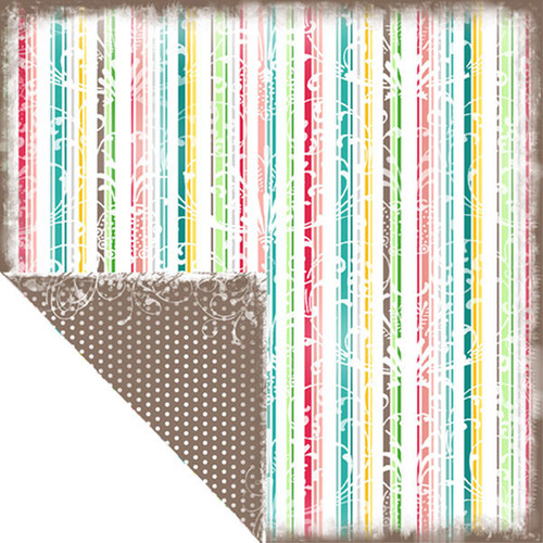 Bon Voyage Collection Tropical Stripes Double-Sided 12 x 12 Scrapbook Paper by Scrapbook Customs