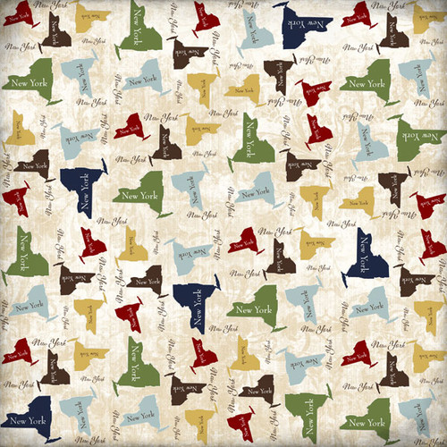 Lovely Travel Collection New York State Shape 12 x 12 Scrapbook Paper by Scrapbook Customs