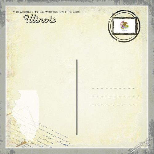 The Vintage Label Collection Illinois Postcard 12 x 12 Scrapbook Paper by Scrapbook Customs