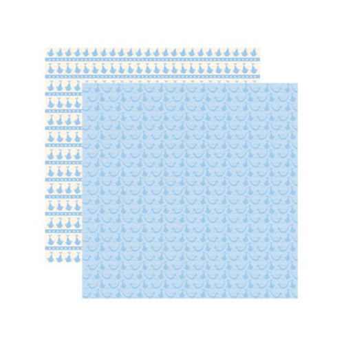 Baby Basics Collection Baby Boy Delivery 12 x 12 Double-Sided Shimmer Scrapbook Paper by Reminisce