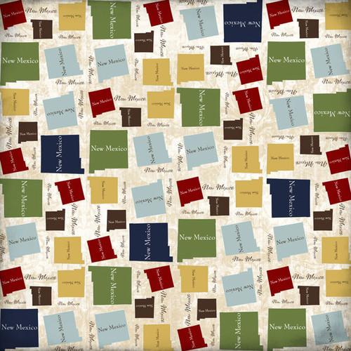 Lovely Travel Collection New Mexico State Shape 12 x 12 Scrapbook Paper by Scrapbook Customs