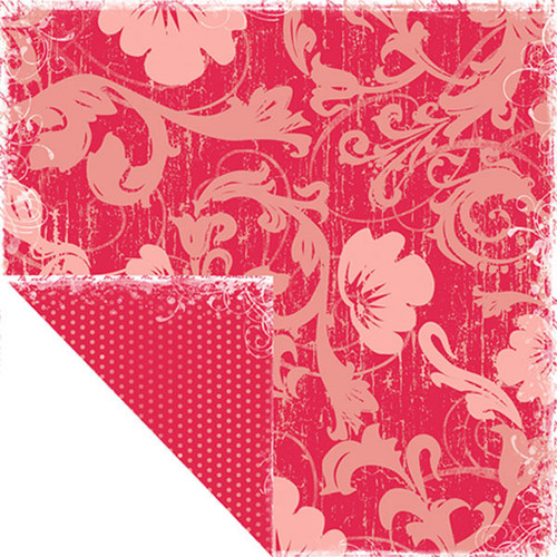 Bon Voyage Collection Pink Flowers Double-Sided 12 x 12 Scrapbook Paper by Scrapbook Customs