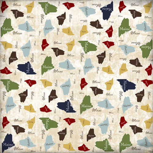 Lovely Travel Collection Maine State Shape 12 x 12 Scrapbook Paper by Scrapbook Customs