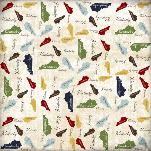 State Shape Collection Kentucky 12 x 12 Scrapbook Paper by Scrapbook Customs