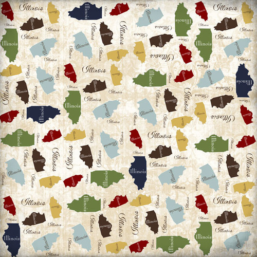 State Shape Collection Illinois 12 x 12 Scrapbook Paper by Scrapbook Customs