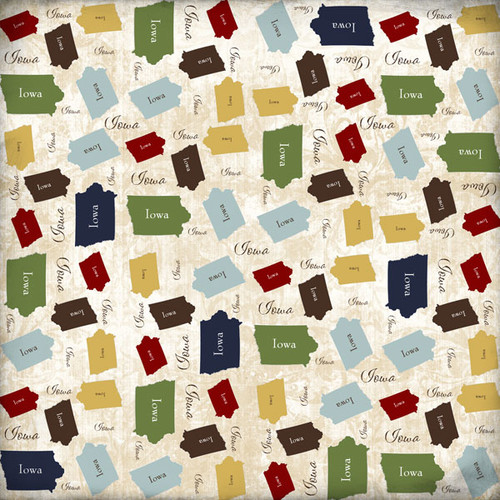 State Shape Collection Iowa 12 x 12 Scrapbook Paper by Scrapbook Customs