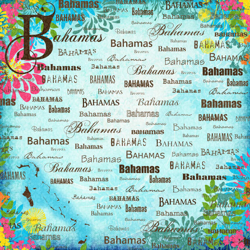 Paradise Collection Bahamas 12 x 12 Scrapbook Paper by Scrapbook Customs