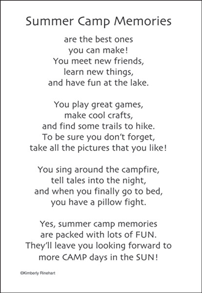 A Poem For A Page Collection Summer Camp Memories 5 X 7