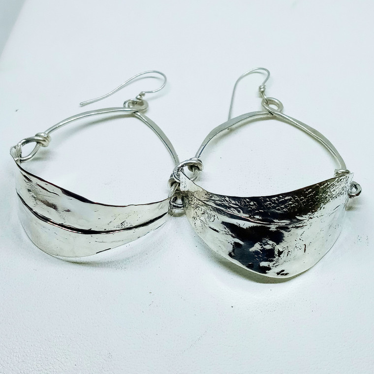 small textured sterling earrings.  one inch