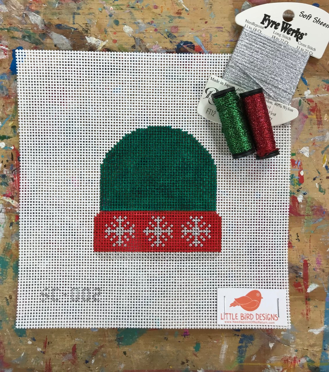 c8125fd46be SC-002 Green with silver snowflakes Stocking Cap About 3.5″ square 13 Mesh  Little Bird Designs - The NeedleArt Closet