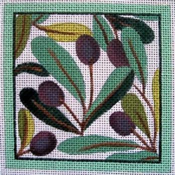 """Ann Wheat Pace 735A 18 Mesh 4"""" x 4"""" Olives  COASTER"""