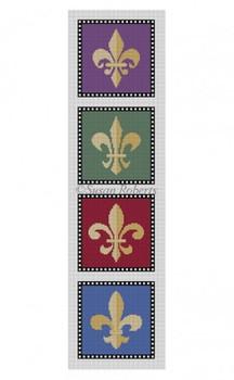 "0519 Fleur De Lis, coasters 4"" x 4"" set of 4  Mesh Susan Roberts Needlepoint"