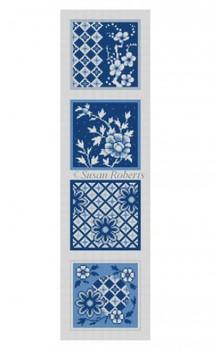 "0509 Imari, blues & white, strip of 4 coasters  #18Mesh 4 designs each 4"" x 4"" Susan Roberts Needlepoint"