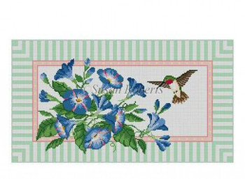 "1143 Morning Glories w/Hummingbird 13 Mesh 18"" x 10""Susan Roberts Needlepoint"