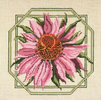 "#217 Pink Coneflower 13 Mesh - 10"" Square Needle Crossings"