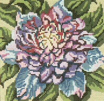 """#218 Blue Clematis 18 Mesh - 5"""" Square Needle Crossings"""