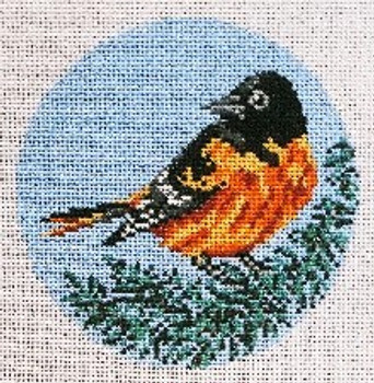 """#1861-SP  Baltimore Oriole Ornament 18 Mesh - 4"""" Round Needle Crossings"""
