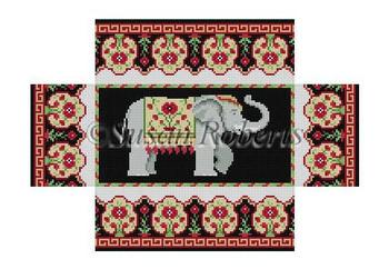 "6302 Elephant, brick cover 8 1/2"" x 4 1/2"" x 2 3/4"" #13  Mesh Susan Roberts  Needlepoint"