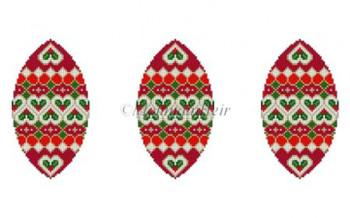 "MH5902 Triad Holly Hearts 4.25"" x 5"" 18  Mesh Susan Roberts Needlepoint"