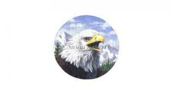 "TTASP317 Bald Eagle #18 Mesh 6 1/4"" round Susan Roberts Needlepoint"