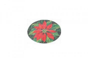 "TTOR139 Red Poinsettia, ornament #18 Mesh Susan Roberts Needlepoint 5 1/4"" x 3 1/2"""