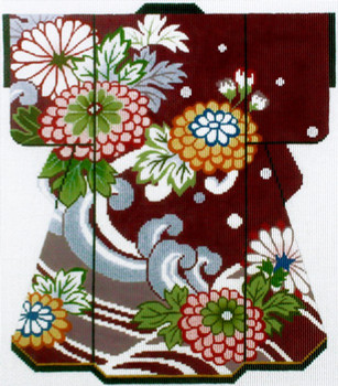 SPM367SKU Lee's Needle Arts Zinnias on Maroon Kimono 18M 2014  8in x 10in
