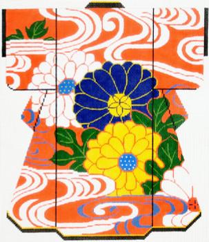 SPM359 Lee's Needle Arts  Zinnias on Orange Kimono 18M 8in. x 10in.