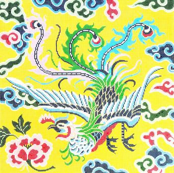P1188 Lee's Needle Arts Phoenix On Yellow Hand-painted canvas - 12 Mesh 16X16